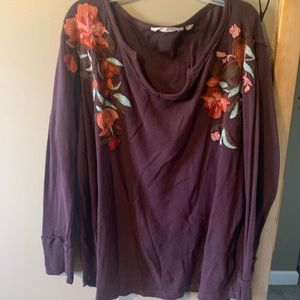 Soft Surroundings Maroon Embroidered Top-1X
